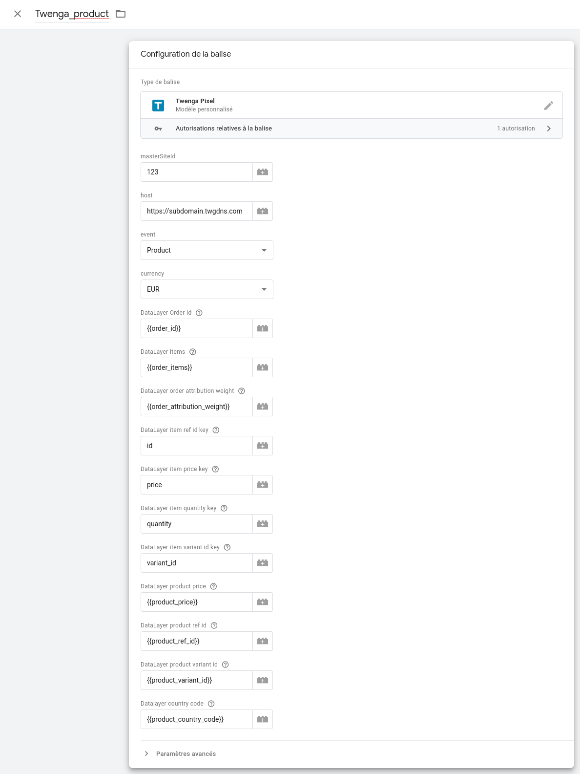 Google Tag Manager Twenga Pixel Tag configuration
